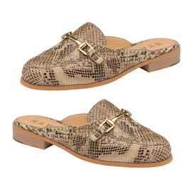 Ravel Brooker Leather Backless Loafers in Snake Pattern