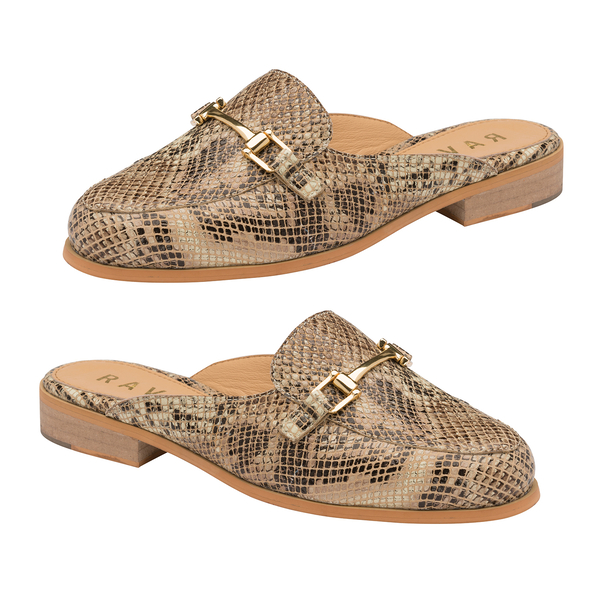 Ravel Brooker Leather Backless Loafers (Size 6) - Snake