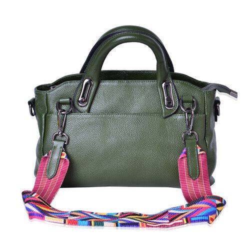 100% Genuine Leather Olive Green Colour Tote Bag with Multi Colour Removable Shoulder Strap (Size 32x28x20x12)