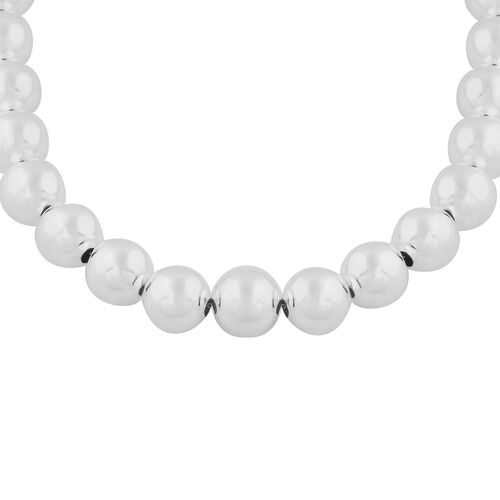 Sterling Silver Ball Necklace (Size 16.5) with T-Bar, Sliver Wt. 33.00 Gms
