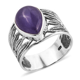 Royal Bali 6.7 Ct Purple Jade Solitaire Ring in Sterling Silver 4.7 Grams