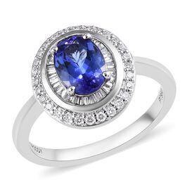 RHAPSODY 950 Platinum AAAA Tanzanite (Ovl 8x6 mm), Diamond (VS/E-F) Ring 1.85 Ct.