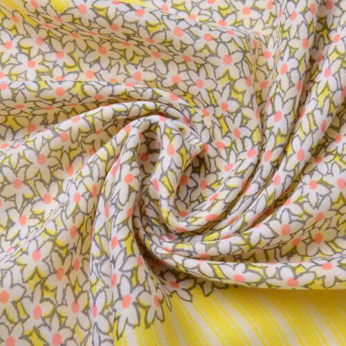 Mustard, Grey and Pink Colour Floral and Stripes Pattern Scarf with Tassels (Size 180X90 Cm)