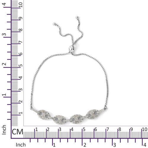 Diamond (Rnd) Mariner Link Bracelet (Size 6.5 to 10 Adjustable) in Platinum Overlay Sterling Silver 1.000 Ct.