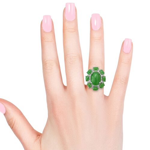 Green Jade (Ovl 14.00 Ct), Natural Cambodian Zircon Flower Ring in Platinum Overlay Sterling Silver 23.000 Ct, Silver wt 8.50 Gms.