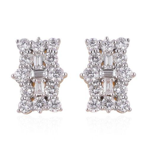 ILIANA 18K Yellow Gold IGI Certified (SI/G-H) Diamond (Bgt and Rnd) Earrings (with Screw Back) 1.000