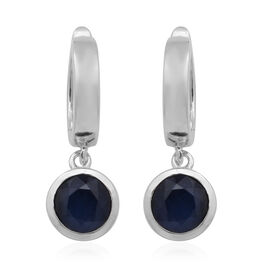 Kanchanaburi Blue Sapphire Hoop Earrings (with Clasp) in Rhodium Overlay Sterling Silver 2.24 Ct.