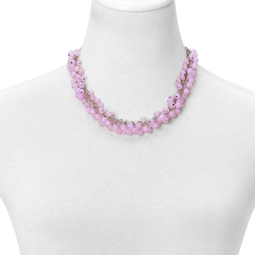 Pink Agate Necklace (Size 18 with 2 inch Extender) and Hook Earrings in Silver Tone 300.000 Ct.