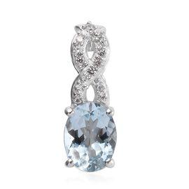 1.30 Ct Espirito Santo Aquamarine and Zircon Solitaire Design Pendant in Platinum Plated Silver