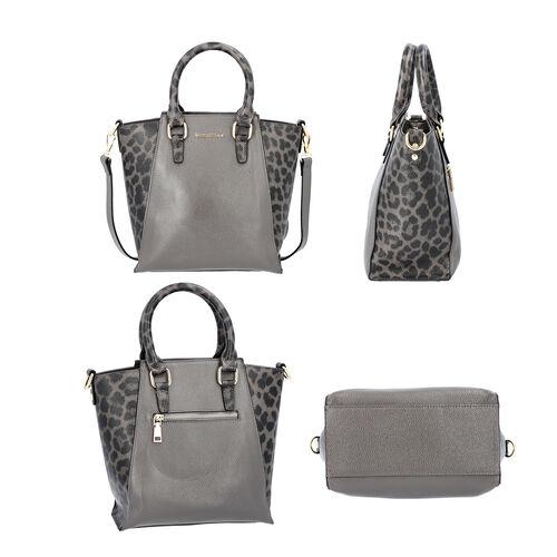 Sencillez 100% Genuine Leather Leopard Printed Handbag with Detachable Shoulder Strap (Size 23x11.5x26cm) - Grey