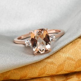 9K Rose Gold AA Pink Morganite and Natural Cambodian Zircon Ring 2.06 Ct.