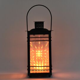 Garden Decoration Hanging Lantern in Yellow Light (Size 12x12x23 Cm) -  Sun Pattern Black (3xAAA Bat