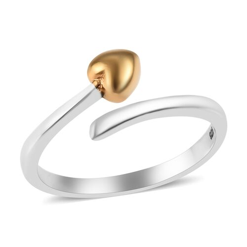 Platinum and Yellow Gold Overlay Sterling Silver Adjustable Ring
