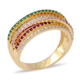 ELANZA Rainbow Simulated Diamond (Rnd) Ring in Yellow Gold Overlay Sterling Silver