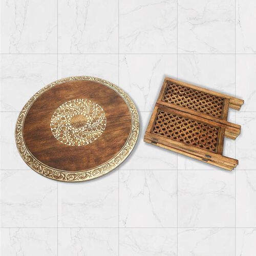 NAKKASHI - Hand Carved Solid Mango Wood Round Table in Natural Finish (Size 51x68 Cm) with Jali Knock Down Stand- Light Brown