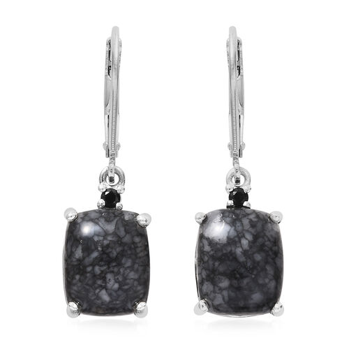 Austrian Pinolith (Cush), Boi Ploi Black Spinel Lever Back Earrings in Platinum Overlay Sterling Silver 9.500 Ct.