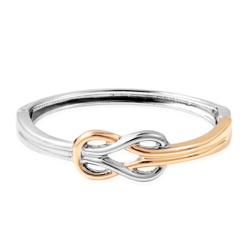 Minimalist Design Hinged Celtic Bangle in Dual Tone 7 Inch