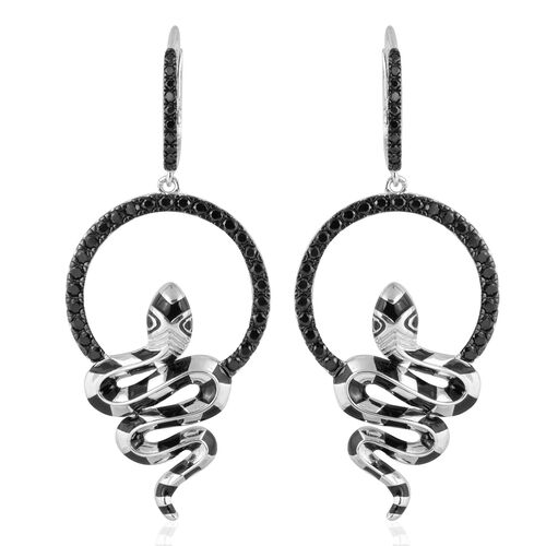 Designer Inspired- Boi Ploi Black Spinel (Rnd) Serpent Earrings (With Lever Back) in Rhodium and Black Plating with Enameled Sterling Silver 3.000 Ct, Silver wt 12.35 Gms.