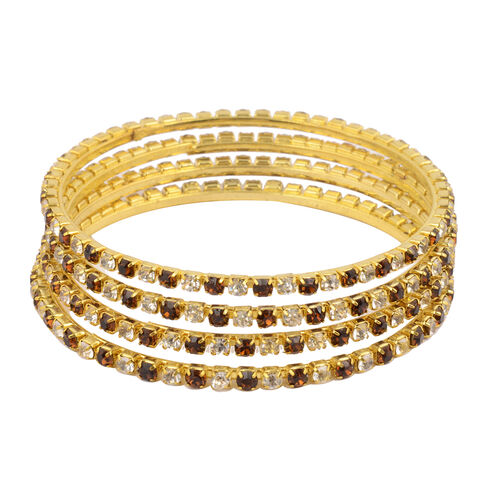 4 Piece Set - Dark Brown Austrian Crystal Bangle (Size 7.75) in Gold Tone