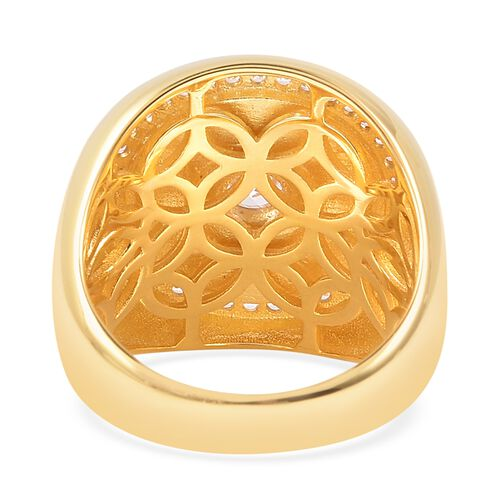 Isabella Liu Collection - White Mother of Pearl (Mrq), Natural White Cambodian Zircon Ring in Yellow Gold Overlay Sterling Silver