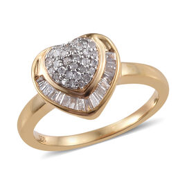 Diamond (Bgt and Rnd) Heart Ring in 14K Gold Overlay Sterling Silver 0.330 Ct.