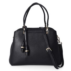100% Genuine Leather Tote Bag with Detachable Shoulder Strap (Size 29.5x22.5x12 Cm) - Black