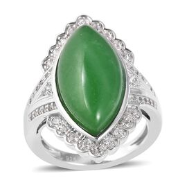 Green Jade (Mrq 20x10 mm), Natural White Cambodian Zircon Ring in Rhodium Overlay Sterling Silver 9.