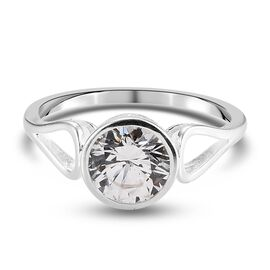 J Francis Platinum Overlay Sterling Silver Ring Made with SWAROVSKI ZIRCONIA 2.27 Ct.