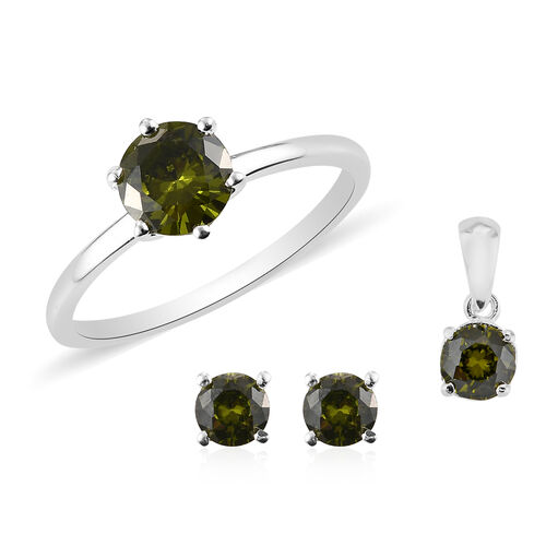 3 Piece Set - Simulated Peridot Solitaire Ring, Pendant and Stud Earrings in Sterling Silver (with P