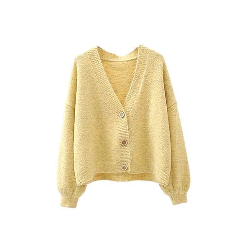 Kris Ana V Neck Wool Cardigan One Size (8-16)- Yellow