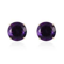 9K Yellow Gold  Moroccan Amethyst Solitaire Stud Earrings (with Push Back) 4.00 Ct.