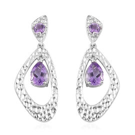 Moroccan Amethyst Dangle Earrings (with Push Back) in Platinum Overlay Sterling Silver 2.50 Ct, Silv