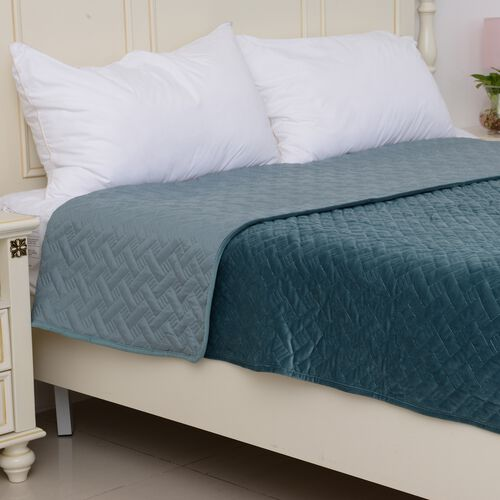 Deluxe Collection - Extremely Soft Short Pile Velvet Quilt with Full Embroidery in Teal Colour (Size 260x240 Cm)