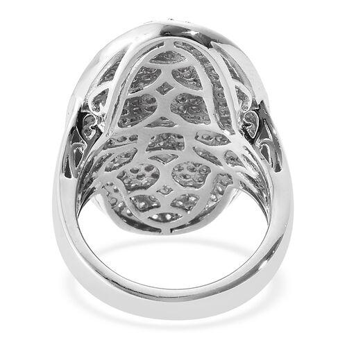 J Francis - Platinum Overlay Sterling Silver (Rnd) Cluster Ring Made with SWAROVSKI ZIRCONIA, Silver wt 7.70 Gms. Number of Swarovski 247
