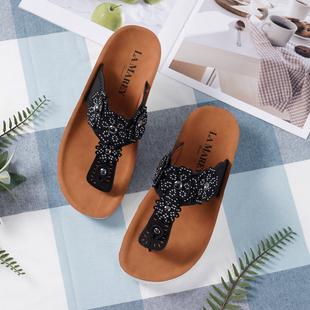 LA MAREY Floral Pattern Slippers (Size 3) - Black