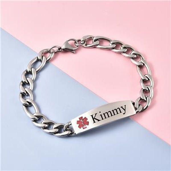 "Personalised Engravable Medical Alert Bracelet, Size 7.5""in silver tone"
