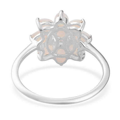 Natural Australian Opal Floral Cluster Ring in Sterling Silver 1.00 Ct.