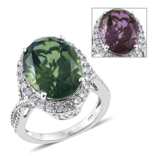 Colour Change Alexandrite Quartz (Ovl 9.50 Ct), Natural Cambodian Zircon Ring in Platinum Overlay Sterling Silver 10.000 Ct.
