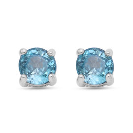 Ratanakiri Blue Zircon Stud Earrings (with Push Back) in Rhodium Overlay Sterling Silver 2.00 Ct.
