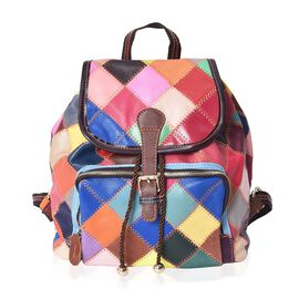 Morocco Collection 100% Genuine Leather Multi Colour and Pattern Blocking Backpack with External Zip