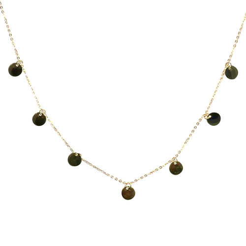 Station Necklace in 9K Gold 18 Inch