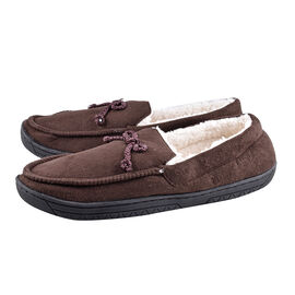 Brown Colour Mens Microfibre Moccasin Slippers (Size 8)