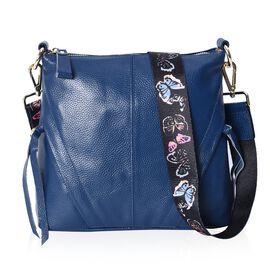 100% Genuine Leather Crossbody Bag with Detachable Butterfly Pattern Shoulder Strap and Front Diagon