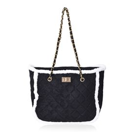 Quilted Pattern Tote Bag with Suede Chain Shoulder Strap and Zipper Closure (Size 31x25x14 Cm) - Bla