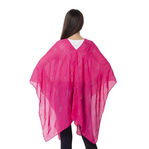 Pink Colour Leaf Pattern Crystal Embellished Poncho (Size 80.01x99.06 Cm)