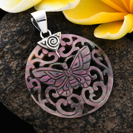 Royal Bali Grey Shell Butterfly Pendant in Sterling Silver