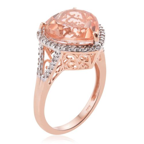 Galileia Blush Pink Quartz (Hrt), Diamond Heart Ring in Rose Gold Overlay Sterling Silver 9.000 Ct.
