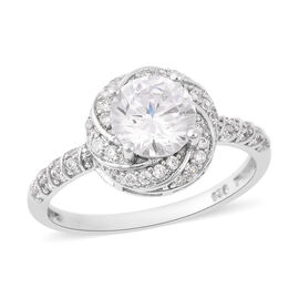 ELANZA Simulated Diamond (Rnd) Swirl Ring in Rhodium Overlay Sterling Silver