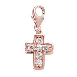 Natural Cambodian Zircon Cross Charm in Rose Gold Overlay Sterling Silver