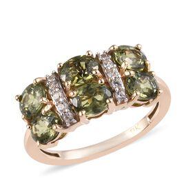 9K Yellow Gold Russian Demantoid Garnet (Ovl), Natural Cambodian Zircon Ring 3.00 Ct.